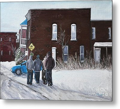 A Winter Walk In Montreal Metal Print by Reb Frost