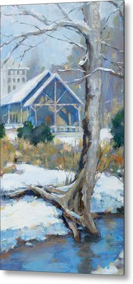 A Winter Walk In The Park Metal Print by Sandra Harris