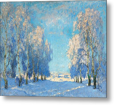 A Winter's Day Metal Print by Konstantin Ivanovich Gorbatov