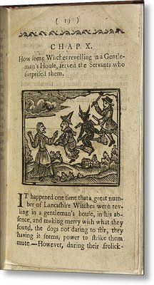 A Witch And Demon Flying On Broomsticks Metal Print by British Library