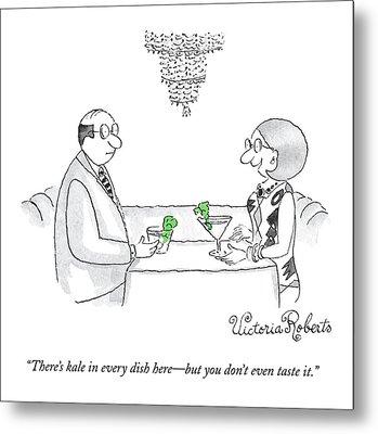 A Woman Addresses A Man Across A Restaurant Table Metal Print