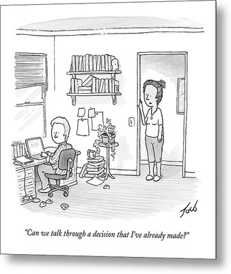 A Woman Addresses Her Husband In His Home Office Metal Print