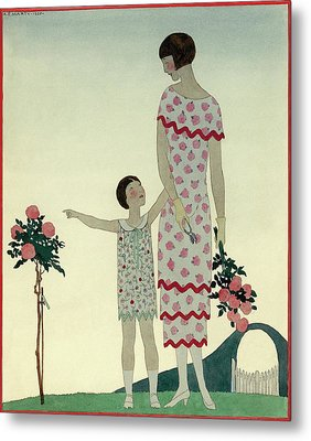 A Woman And A Little Girl Metal Print by Andr? E.  Marty
