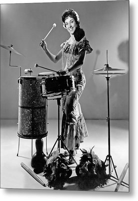 A Woman Calypso Percussionist Metal Print by Underwood Archives