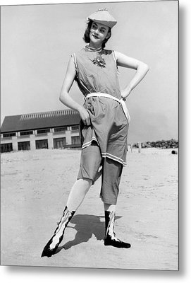 A Woman In A 1914 Swim Suit Metal Print