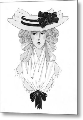 A Woman Modeling A Historical Costume Metal Print by Claire Avery
