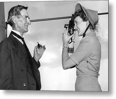 A Woman Photographs Her Father Metal Print by Underwood Archives
