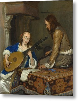 A Woman Playing The Theorbo-lute And A Cavalier Metal Print by Gerard ter Borch