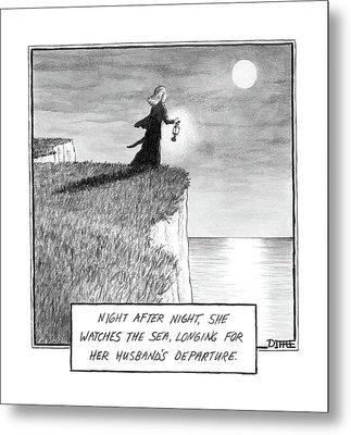 A Woman Runs In The Dark Toward A Cliff Metal Print