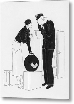 A Woman Speaking To A Customs Officer Metal Print by  Rovinsky