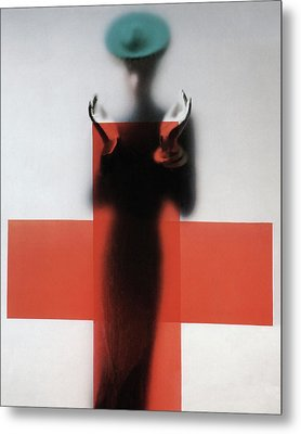 A Woman Standing Behind A Red Cross On Frosted Metal Print