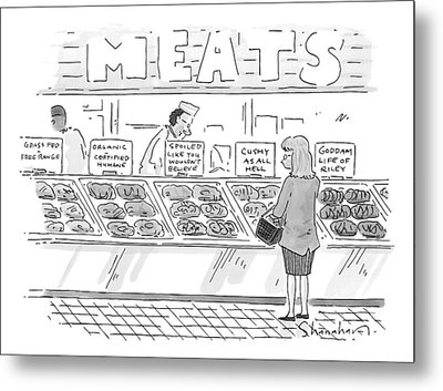 A Woman Surveys Different Kinds Of Meat Metal Print