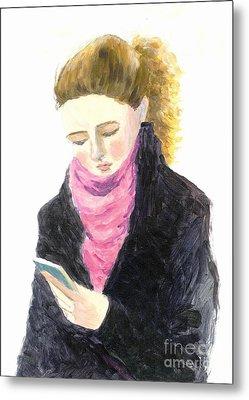 A Woman Texting W Cell Phone Metal Print by Jingfen Hwu