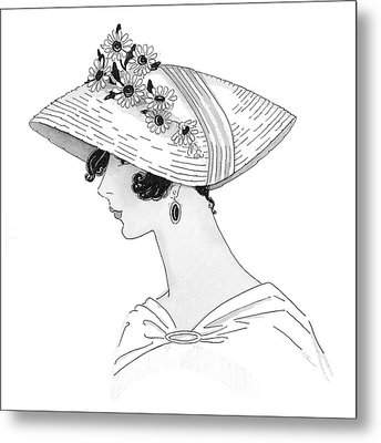 A Woman Wearing A Leghorn Hat Metal Print by Claire Avery