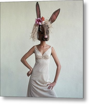 A Woman Wearing A Rabbit Mask Metal Print