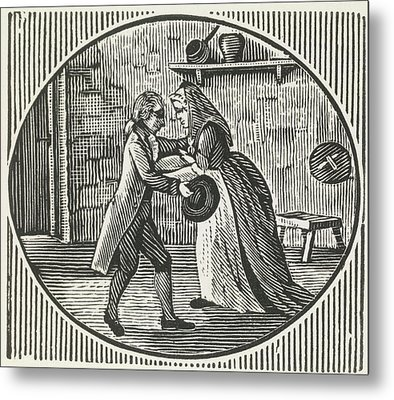 A Woodcut Of A Man And A Woman Embracing Metal Print