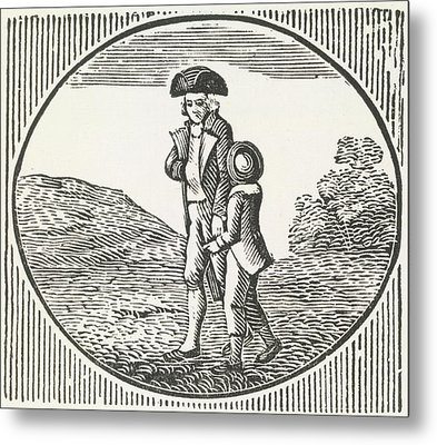A Woodcut Of A Man And Boy Walking Togeth Metal Print