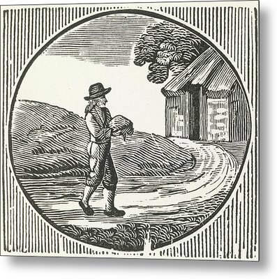 A Woodcut Of A Man Carrying A Package. Metal Print