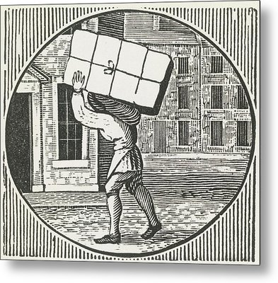 A Woodcut Of A Man Carrying A Parcel. Metal Print