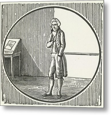 A Woodcut Of A Man Standing Metal Print
