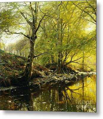 A Wooded River Landscape Metal Print by Peder Monsted