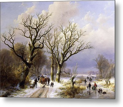 A Wooded Winter Landscape With Figures Metal Print by Verboeckhoven and Klombeck