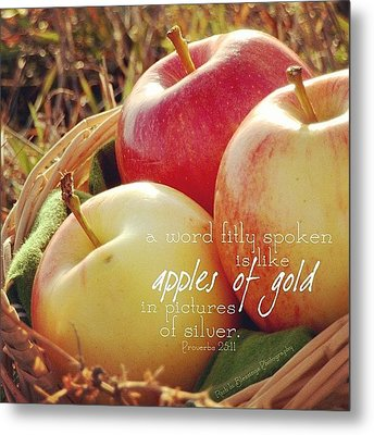 a Word Fitly Spoken Is Like Apples Of Metal Print by Traci Beeson