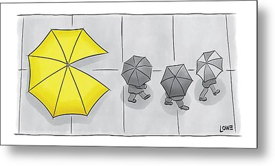A Yellow Umbrella With A Pacman Mouth Metal Print by Christian Lowe