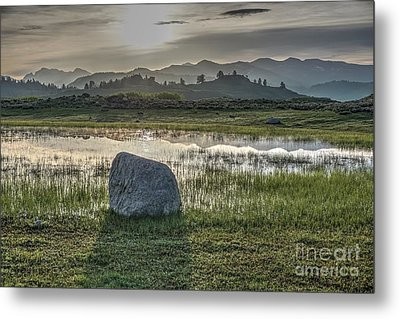 Metal Print featuring the photograph A Yellowstone Sunrise And Hazy Morning Ridges by Bill Gabbert