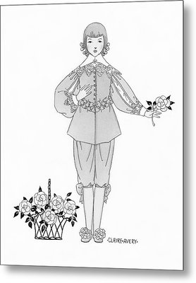A Young Boy Wearing An Ensemble From The Courtly Metal Print by Claire Avery