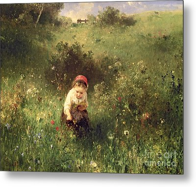 A Young Girl In A Field Metal Print by Ludwig Knaus