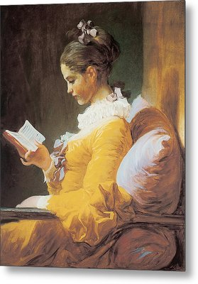 A Young Girl Reading Metal Print by Jean-Honore Fragonard