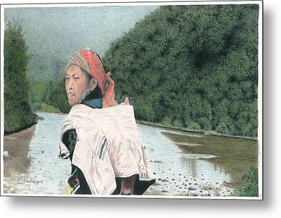 A Young Vietnamese Mother With Her Baby Metal Print by Wilfrid Barbier