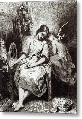 A Young Woman Dozing With An Angel Metal Print