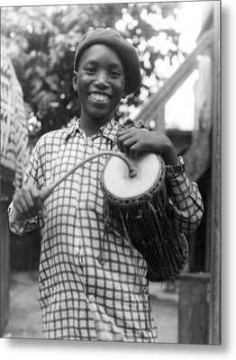 A Young Yoruba Drummer Metal Print by Underwood Archives