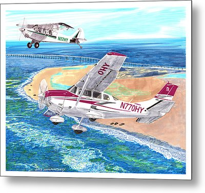 Cessna 206 And A1a Husky Metal Print by Jack Pumphrey