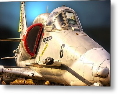 A4 Skyhawk Attack Jet Metal Print by Thomas Woolworth