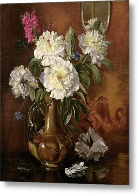 White Peonies In A Glazed Victorian Vase Metal Print by Albert Williams