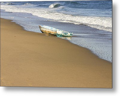 Abandoned Boat Ried State Park Beach Maine Metal Print by Keith Webber Jr