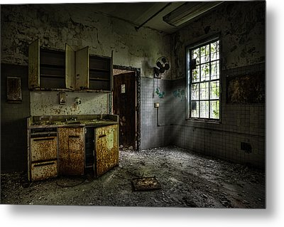 Abandoned Building - Old Asylum - Open Cabinet Doors Metal Print by Gary Heller