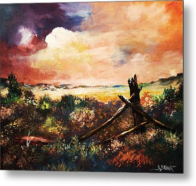Metal Print featuring the painting Abandoned Fence Post by Al Brown
