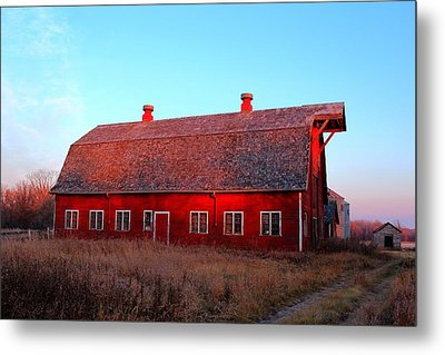 Abandoned Old Red Metal Print by Larry Trupp