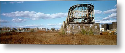 Abandoned Rollercoaster In An Amusement Metal Print