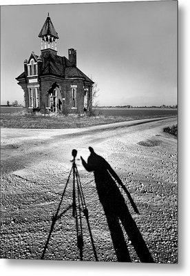 Abandoned School House And My Shadow Circa 1985 Metal Print by John Hanou