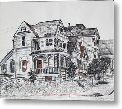 Abandoned Victorian And Neighbors In Oakland California Metal Print by Asha Carolyn Young