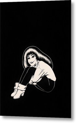 Abbey In Boots Against Black Field Metal Print by Richard Moore