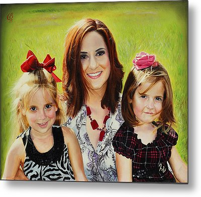 Metal Print featuring the painting Abby And The Girls by Glenn Beasley