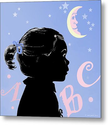 Abc - The Moon And Me Metal Print by Carol Jacobs