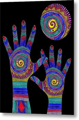 Aboriginal Hands To The Sun Metal Print by Barbara St Jean