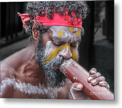 Metal Print featuring the photograph Aboriginal Playing Didgeridoo by Jola Martysz